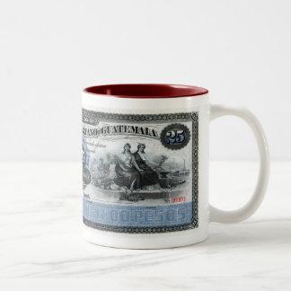 RARE WORLD BANKNOTES 25 PESOS GUATEMALA Two-Tone COFFEE MUG