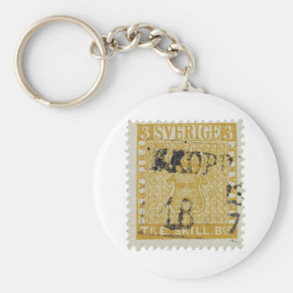 Rare Yellow 3 Skilling Stamp of Sweden 1855 Basic Round Button Keychain