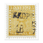 Rare Yellow 3 Skilling Stamp of Sweden 1855 Stretched Canvas Prints