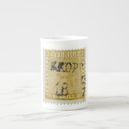 Rare Yellow 3 Skilling Stamp of Sweden 1855 Tea Cup