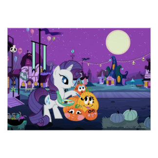 Rarity Painting Pumpkins Poster