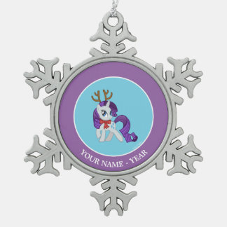 Rarity Reindeer Snowflake Pewter Christmas Ornament