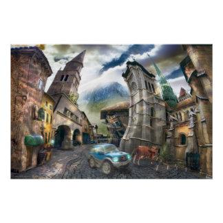 Raro Pueblo | Surreal Digital Art Poster