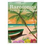 Rarotonga pacific island vintage travel poster card