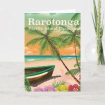 Rarotonga pacific island vintage travel poster holiday card