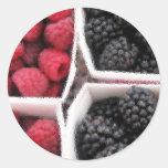 Rasberries and Blackberries Round Sticker