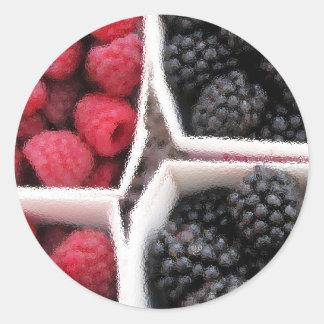 Rasberries and Blackberries Classic Round Sticker
