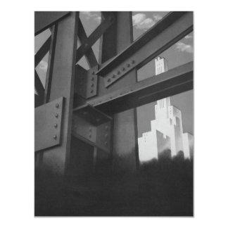 """Rascacielos de acero de la construcción de la invitación 4.25"""" x 5.5"""""""