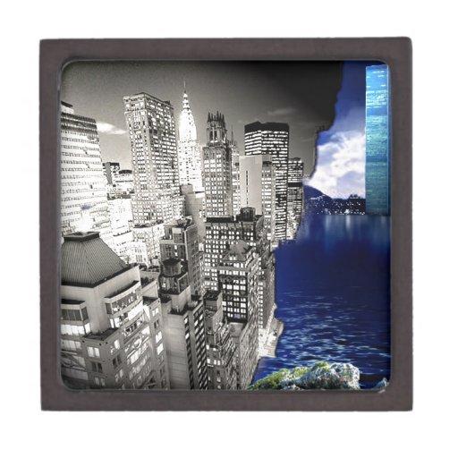 rascacielos de la torre gemela de 3D Nueva York Cajas De Joyas De Calidad