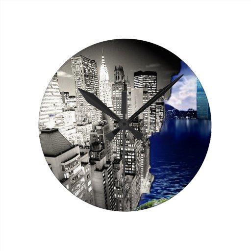rascacielos de la torre gemela de 3D Nueva York Relojes
