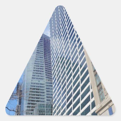 Rascacielos de Manhattan Pegatina Triangular