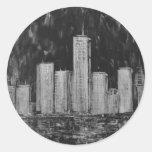Rascacielos de Nueva York en pegatinas del aceite Etiquetas Redondas