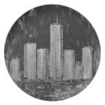 Rascacielos de Nueva York en placa del aceite Platos De Comidas