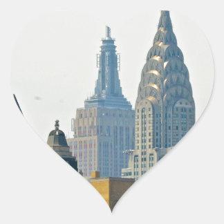 Rascacielos de Nueva York Pegatina En Forma De Corazón