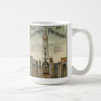 Rascacielos de Philadelphia (poster 1898 del vinta Taza De Café
