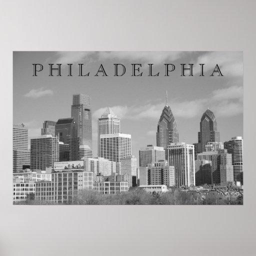 Rascacielos de Philly blancos y negros Póster
