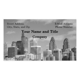 Rascacielos de Philly blancos y negros Tarjetas De Visita