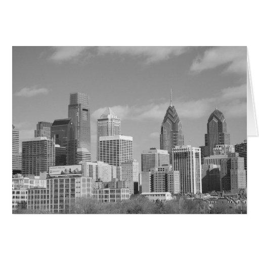 Rascacielos de Philly blancos y negros Tarjeta De Felicitación