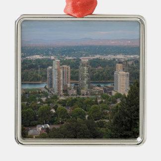 Rascacielos de Portland Oregon Adorno Navideño Cuadrado De Metal