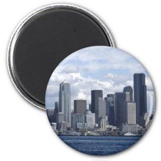 Rascacielos de Seattle Washington Imán Redondo 5 Cm