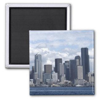 Rascacielos de Seattle Washington Imán Cuadrado