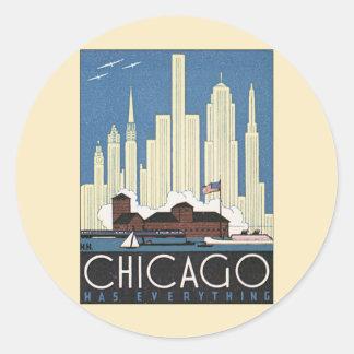 Rascacielos del horizonte de Chicago Illinois del Pegatina Redonda