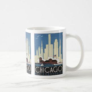 Rascacielos del horizonte de Chicago Illinois del Taza Básica Blanca