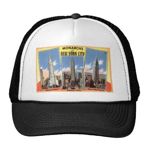 Rascacielos del vintage de New York City Gorro De Camionero