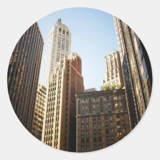 Rascacielos financieros del distrito, New York Pegatina Redonda