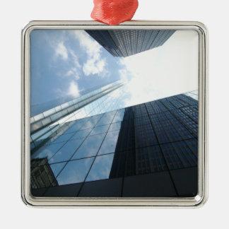 Rascacielos reflectores adorno cuadrado plateado