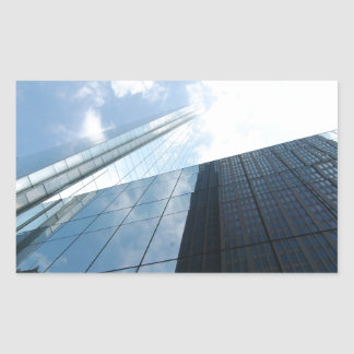 Rascacielos reflectores pegatina rectangular