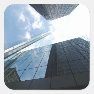 Rascacielos reflectores pegatina cuadrada