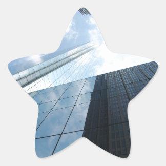 Rascacielos reflectores pegatina en forma de estrella