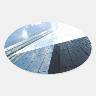 Rascacielos reflectores pegatina ovalada