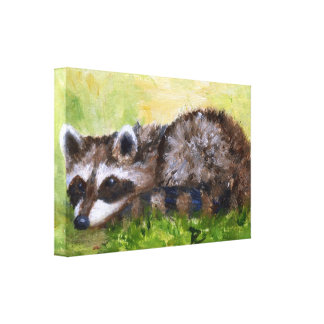 Rascal aceo Racoon Wrapped Canvas Print