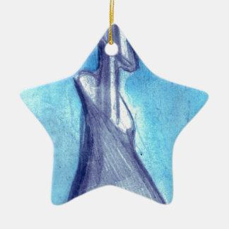 Rasgado por el cielo azul adorno navideño de cerámica en forma de estrella