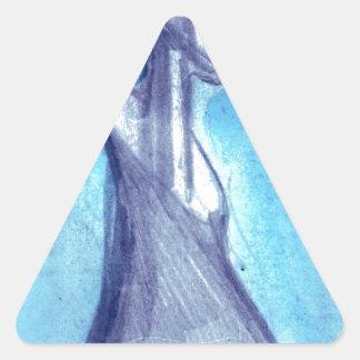 Rasgado por el cielo azul pegatina triangular