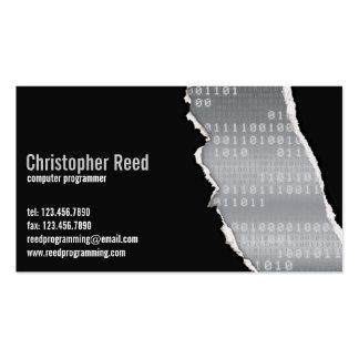 Rasgón binario - gris tarjetas de visita
