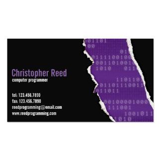 Rasgón binario - púrpura tarjetas de visita