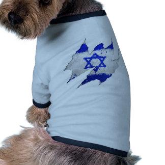 Rasgón de la pintada de la bandera de Israel Ropa De Mascota