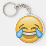Rasgones del emoji de la alegría divertidos llavero redondo tipo pin