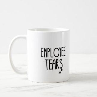 Rasgones del empleado taza básica blanca