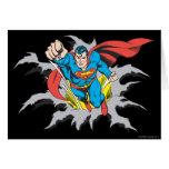 Rasgones del superhombre a través tarjeta de felicitación