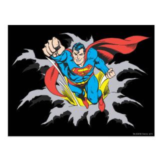 Rasgones del superhombre a través tarjeta postal