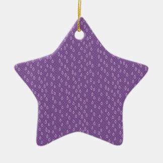 Rasgones púrpuras adorno navideño de cerámica en forma de estrella