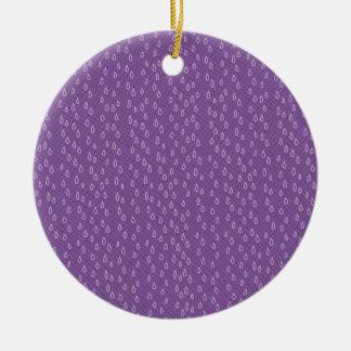 Rasgones púrpuras adorno navideño redondo de cerámica