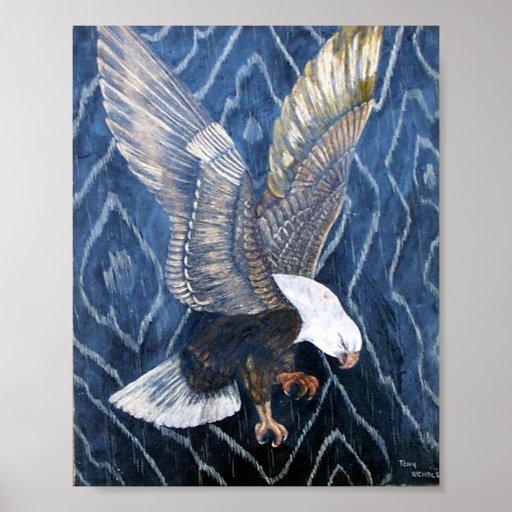 Rasguño de Eagle calvo Posters