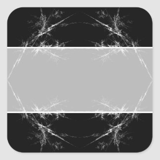 Rasguño eléctrico Fractal negro blanco Art Calcomania Cuadradas