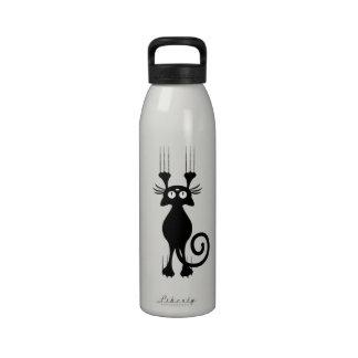 Rasguño lindo del gato negro del dibujo animado botella de agua