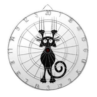 Rasguño lindo del gato negro del dibujo animado tablero de dardos